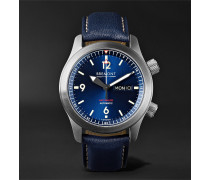 U2/BL Automatic 45mm Stainless Steel and Leather Watch, Ref. No. U-2 BLUE