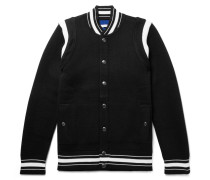 Slim-fit Logo-embroidered Waffle-knit Virgin Wool Bomber Jacket