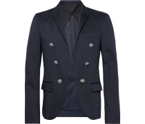 Navy Slim-fit Double-breasted Cotton-blend Blazer