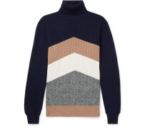 Chevron Ribbed Virgin Wool, Cashmere And Silk-blend Rollneck Sweater