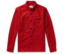 Wool-blend Shirt Jacket - Red