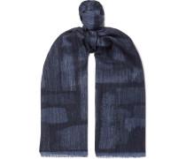 Mélange Wool, Silk And Linen-blend Scarf - Navy