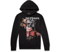 Slim-fit Printed Fleece-back Cotton-blend Jersey Hoodie - Black