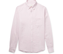 Button-down Collar Puppytooth Slub Linen Shirt