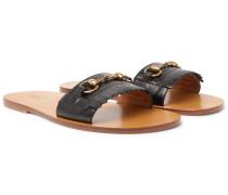 Varadero Horsebit Fringed Leather Sandals
