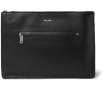 Stripe-Trimmed Textured-Leather Pouch