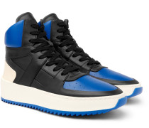 Basketball Panelled Leather High-top Sneakers