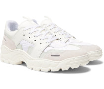 Lucky 9 Nylon, Leather And Suede Sneakers - White