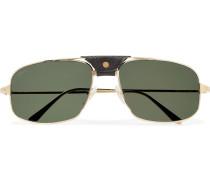 Santos de Cartier Aviator-Style Leather-Trimmed Gold-Tone Sunglasses