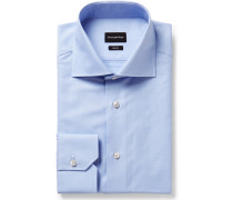 Light-Blue Trofeo Slim-Fit Cutaway-Collar Cotton-Poplin Shirt