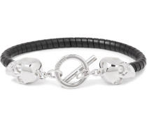 Silver-Tone and Leather Bracelet