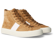 Cambridge Leather-trimmed Suede High-top Sneakers - Tan