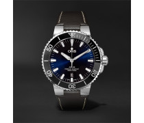 Aquis 43mm Stainless Steel and Leather Watch, Ref. No. 01 733 7730 4135- 07 5 24 10 EB