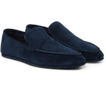 Walk At Home Cashmere-lined Suede Slippers - Navy