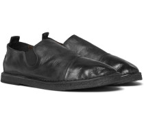 Cap-toe Washed-leather Loafers