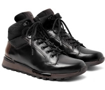 Fast Track Shearling-lined Leather And Jacquard-shell Hiking Boots - Black