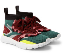 Valentino Garavani Heroes Tribe 2 Fringe-trimmed Suede And Mesh Sneakers