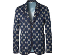 Navy Logo-Jacquard Cotton Blazer