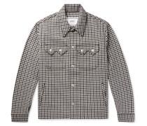 Houndstooth Wool-Blend Trucker Jacket