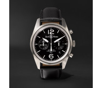 BR 126 Automatic Chronograph 41mm Steel and Leather Watch, Ref. No. BRV126-BL-ST/SCA