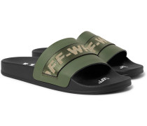 Industrial Logo Webbing-trimmed Rubber Slides - Army green