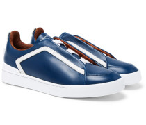 Triple Stitch Leather Slip-on Sneakers - Navy
