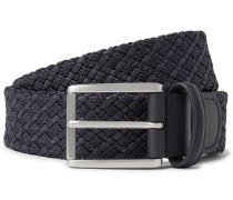 3.5cm Storm-Blue Leather-Trimmed Woven Waxed-Cotton Belt