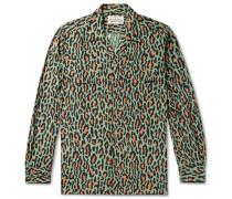 Camp-Collar Leopard-Print Cotton Shirt