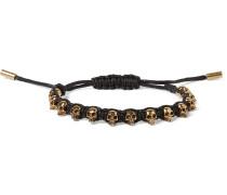 Skull Gold-Tone and Rope Bracelet
