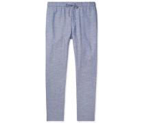 Mélange Linen And Cotton-blend Drawstring Trousers