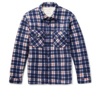 Faux Shearling-lined Checked Felt Overshirt - Blue