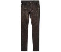 Skinny-fit Metallic Leopard-print Coated Stretch-denim Jeans