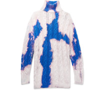 Oversized Cable-knit Cotton Rollneck Sweater - White