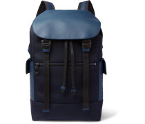 Intrecciato Leather-trimmed Canvas Backpack