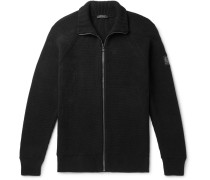 Slim-fit Ribbed Cotton Zip-up Cardigan - Black