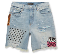 Panelled Distressed Denim Shorts - Light blue