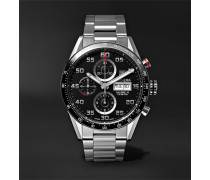 Carrera Automatic Chronograph 43mm Polished-steel Watch - Black