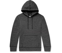 Zip-detailed Perforated Loopback Cotton-blend Jersey Hoodie - Gray