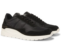 Cross Trainer Nylon and Suede Sneakers