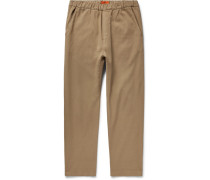 Cropped Tapered Stretch-cotton Twill Drawstring Trousers