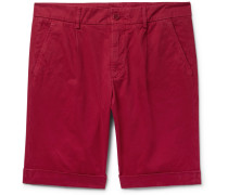 Pleated Cotton-twill Chino Shorts - Red