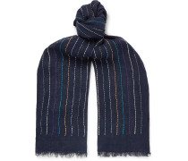 Fringed Embroidered Linen Scarf