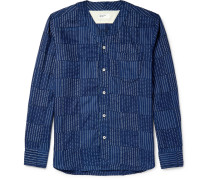Grandad-collar Panelled Indigo-dyed Cotton Shirt