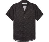 Camp-collar Logo-print Silk-twill Shirt - Black