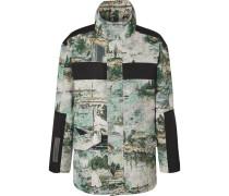 Shell-panelled Cotton-blend Jacquard Field Jacket - Blue