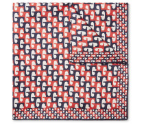 Printed Silk-twill Pocket Square - Navy