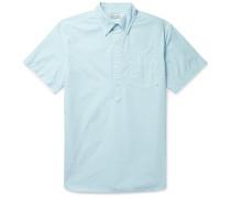 Button-down Collar Cotton Half-placket Shirt - Sky blue