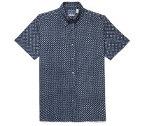 Slim-fit Button-down Collar Indigo-dyed Printed Cotton-gauze Shirt