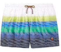 Mid-length Printed Swim Shorts - White