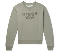 Printed Embroidered Loopback Cotton-jersey Sweatshirt - Green